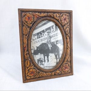 Faux Tooled Leather Resin 5 x 7 Picture Frame